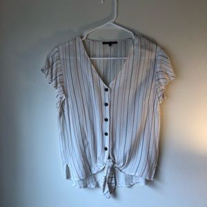 Cropped front tie blouse